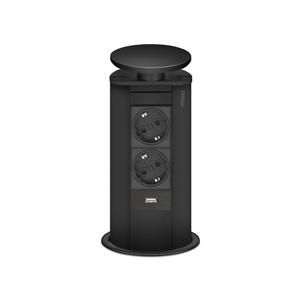 EVOline Powerport sort med 2 stik + 1 x Usb