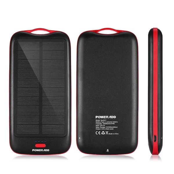 PowerAdd Powerbank Apollo 2 10.000mAh med Solcellepanel